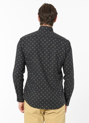 Daffari Desenli Uzun Kollu Gömlek Siyah
